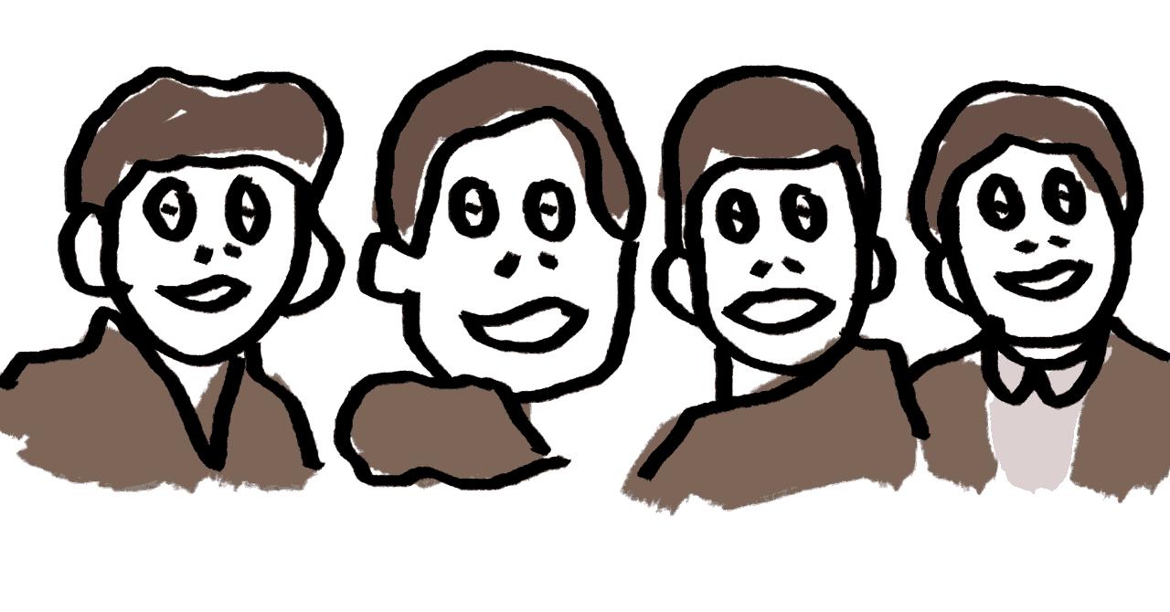 ビートルズのような4人が微笑んでいる